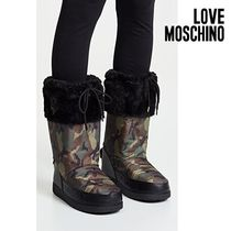 Love Moschino Camouflage Faux Fur Rain Boots Boots