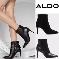 ALDO Plain Leather Pin Heels Elegant Style Ankle & Booties Boots
