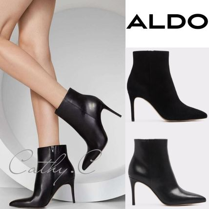 Plain Leather Pin Heels Elegant Style Ankle & Booties Boots