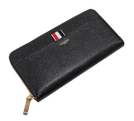 Stripes Street Style Plain Leather Long Wallets