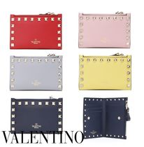 VALENTINO Studded Plain Leather Card Holders