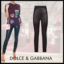 Dolce & Gabbana Casual Style Plain Leather Leather & Faux Leather Pants