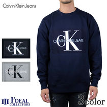 Calvin Klein Crew Neck Pullovers Long Sleeves Cotton Sweatshirts
