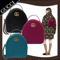 6bd1984902ab GUCCI GG Marmont Chain Plain Leather Elegant Style Backpacks