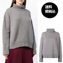 CELINE Cashmere Long Sleeves Plain Medium High-Neck Oversized