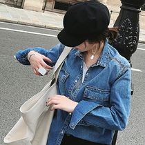 Casual Style Denim Long Sleeves Plain Oversized