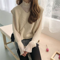 Cable Knit Casual Style V-Neck Puff Sleeves Knitwear