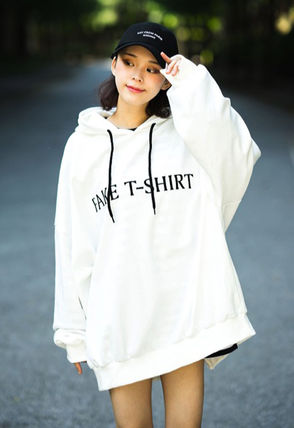 Hoodies Unisex Street Style Long Sleeves Plain Cotton Oversized 4