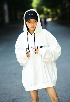 Hoodies Unisex Street Style Long Sleeves Plain Cotton Oversized 6