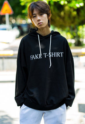 Hoodies Unisex Street Style Long Sleeves Plain Cotton Oversized 12