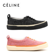 CELINE Rubber Sole Lace-up Casual Style Tweed Street Style Plain