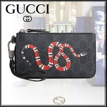 GUCCI Monogram Canvas Chain Other Animal Patterns Clutches