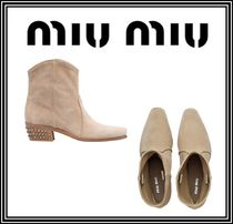 MiuMiu Square Toe Casual Style Suede Studded Plain Chunky Heels