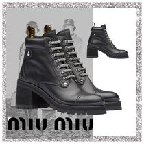 MiuMiu Mountain Boots Round Toe Rubber Sole Casual Style Leather