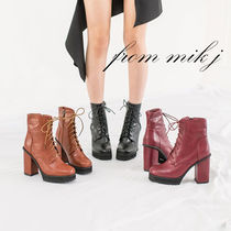 Platform Lace-up Faux Fur Street Style Plain Lace-up Boots