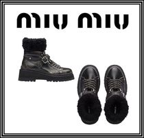 MiuMiu Round Toe Rubber Sole Casual Style Blended Fabrics