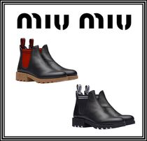 MiuMiu Round Toe Rubber Sole Casual Style Plain Leather