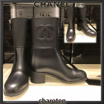 CHANEL ICON Plain Toe Plain Block Heels PVC Clothing Elegant Style