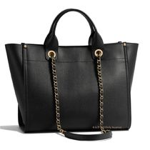 CHANEL DEAUVILLE Casual Style Unisex Calfskin Studded A4 2WAY Plain Totes