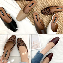 Leopard Patterns Square Toe Casual Style Faux Fur Plain