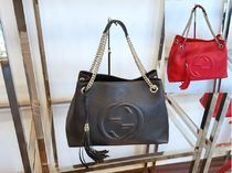 GUCCI A4 2WAY Plain Leather Elegant Style Totes