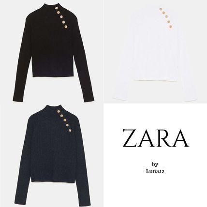 1fc245316 ZARA Casual Style Rib Long Sleeves Plain High-Neck Sweaters by ...