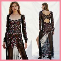 Free People Flower Patterns Maxi Nylon Long Sleeves Long Party Style