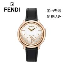FENDI RUNAWAY Round Quartz Watches 18K Gold Elegant Style Analog Watches