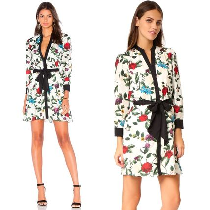 Short Flower Patterns Cropped Party Style Shirt Dresses