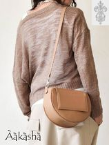 Aakasha Plain Leather Handmade Khaki Shoulder Bags