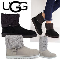 UGG Australia Round Toe Rubber Sole Casual Style Suede Blended Fabrics