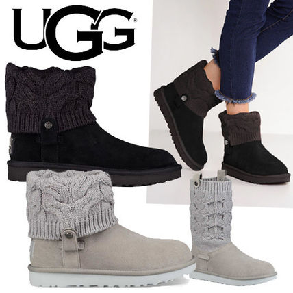 UGG Australia Ankle & Booties Round Toe Rubber Sole Casual Style Suede Blended Fabrics