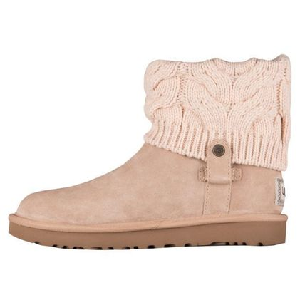 UGG Australia Ankle & Booties Round Toe Rubber Sole Casual Style Suede Blended Fabrics 3