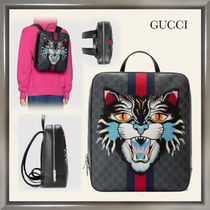 GUCCI Monogram Unisex Canvas A4 Other Animal Patterns Backpacks