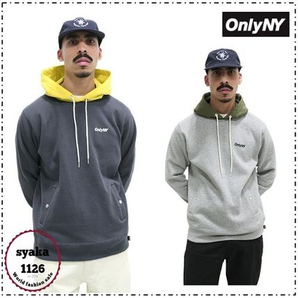 ONLY NY Hoodies Pullovers Street Style Long Sleeves Plain Cotton Hoodies