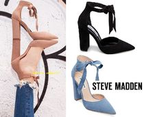 Steve Madden Plain Leather Block Heels Elegant Style