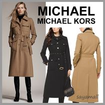 Michael Kors Wool Plain Medium Elegant Style Trench Coats