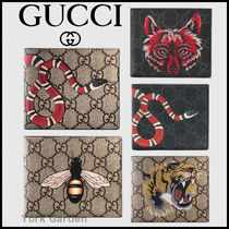 GUCCI GG Supreme Other Animal Patterns Leather Folding Wallet Folding Wallets