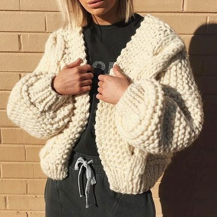 Cable Knit Short Casual Style Wool Street Style Long Sleeves