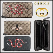 GUCCI GG Supreme Other Animal Patterns Leather Long Wallets