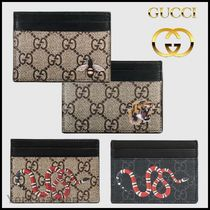 GUCCI GG Supreme Other Animal Patterns Leather Card Holders