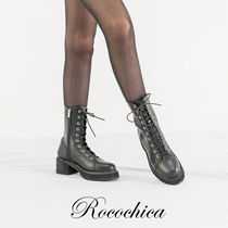 Lace-up Casual Style Plain Lace-up Boots
