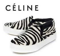 CELINE Zebra Patterns Unisex Leather Slip-On Shoes