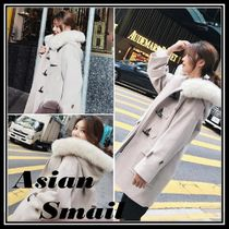 Wool Plain Medium Elegant Style Duffle Coats