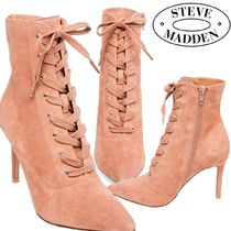 Steve Madden Lace-up Suede Plain Pin Heels Elegant Style Lace-up Boots
