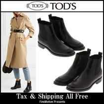 TOD'S Round Toe Rubber Sole Plain Leather Ankle & Booties Boots