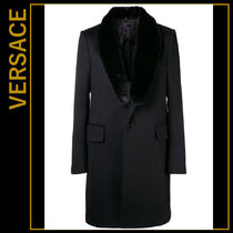 VERSACE Cashmere Plain Long Chester Coats