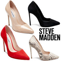 Steve Madden Plain Other Animal Patterns Leather Pin Heels Elegant Style