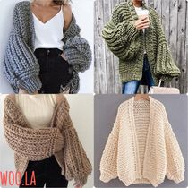 Casual Style Plain Long Oversized Puff Sleeves Cardigans