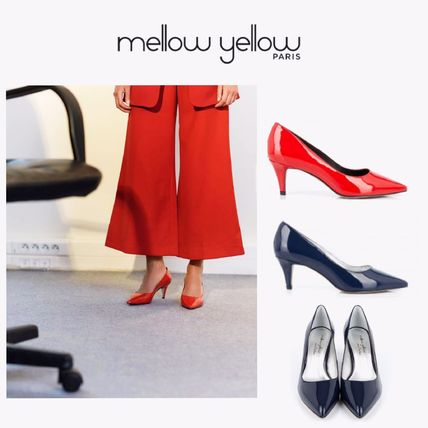 Plain Leather Pin Heels Party Style Stiletto Pumps & Mules